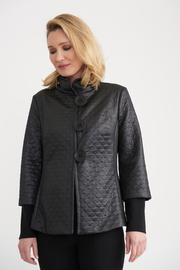 Joseph Ribkoff Black on Black Houndstooth Jacket - Product Mini Image