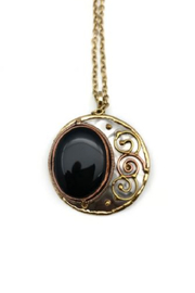 Anju Handcrafted Artisan Jewelry Black Onyx Mixed Metal Necklace - Product Mini Image