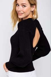 &merci black open back bubble sleeve sweater - Front cropped