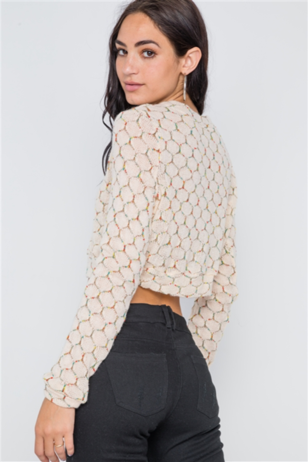 36point5 Black or Cream Hexagon Print Crop Pullover - Front Full Image