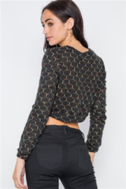 36point5 Black or Cream Hexagon Print Crop Pullover - Side cropped