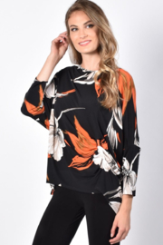 Frank Lyman Black/Orange Knit top with dolman sleeves - Product Mini Image
