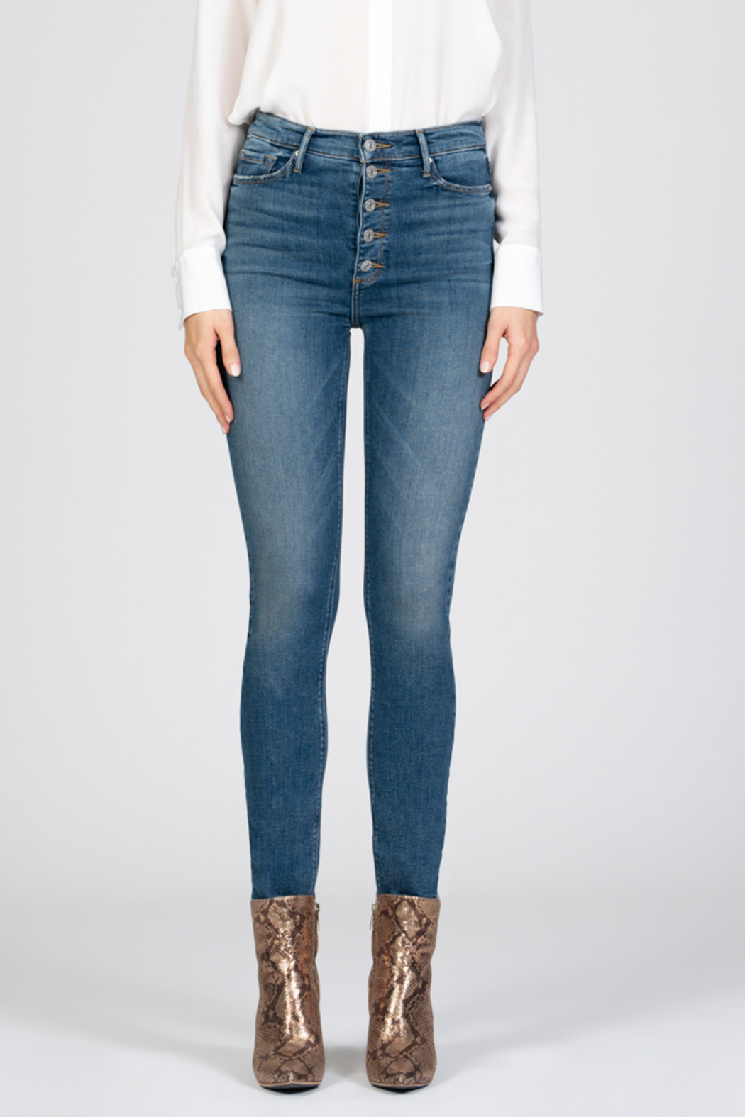 Black Orchid Denim Black Orchid Christie Buttonfly High Rise Skinny Jean - Front Full Image