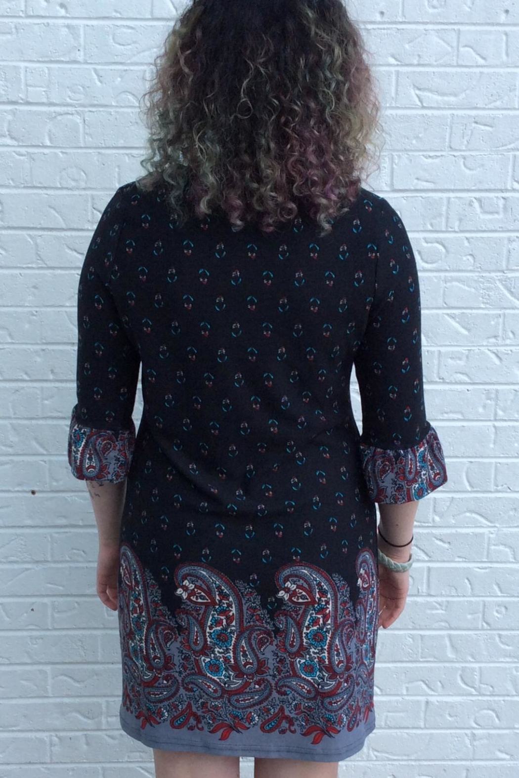 Aryeh Black Paisley Dress - Side Cropped Image