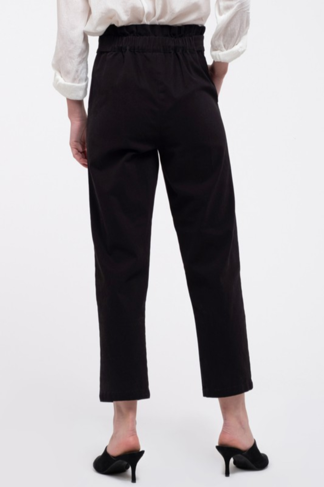 Mine and E&M Black Paperbag Pants - Front Full Image