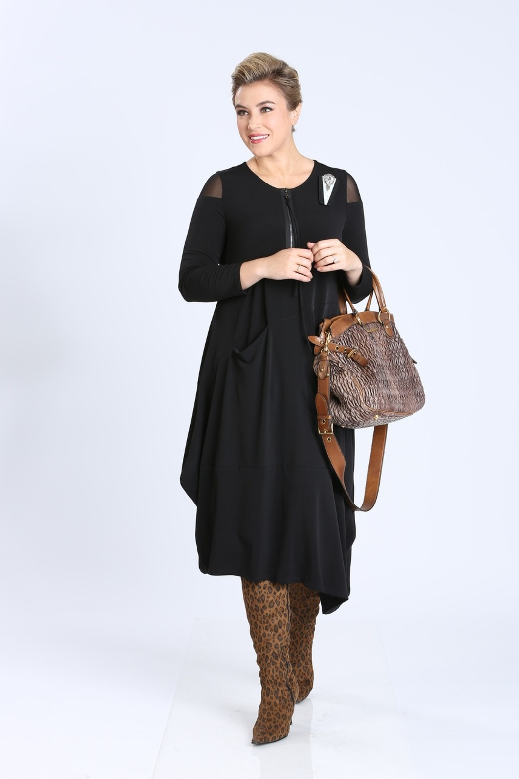 IC Collection Black Parachute Dress  3574D - Main Image