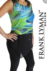 Frank Lyman black patterned tank w/chiffon bottom - Product Mini Image