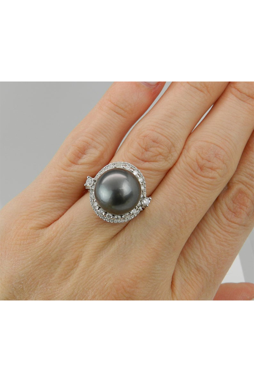 Margolin & Co Black Pearl Ring, Diamond and Pearl Engagement Ring, Tahitian Pearl Ring, 18K White Gold Diamond and Pearl Ring, Diamond Halo Ring - Back Cropped Image