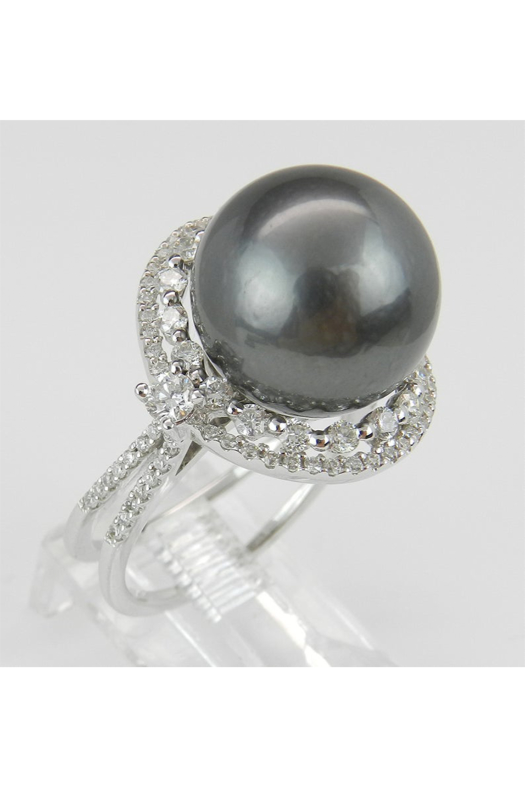 Margolin & Co Black Pearl Ring, Diamond and Pearl Engagement Ring, Tahitian Pearl Ring, 18K White Gold Diamond and Pearl Ring, Diamond Halo Ring - Main Image