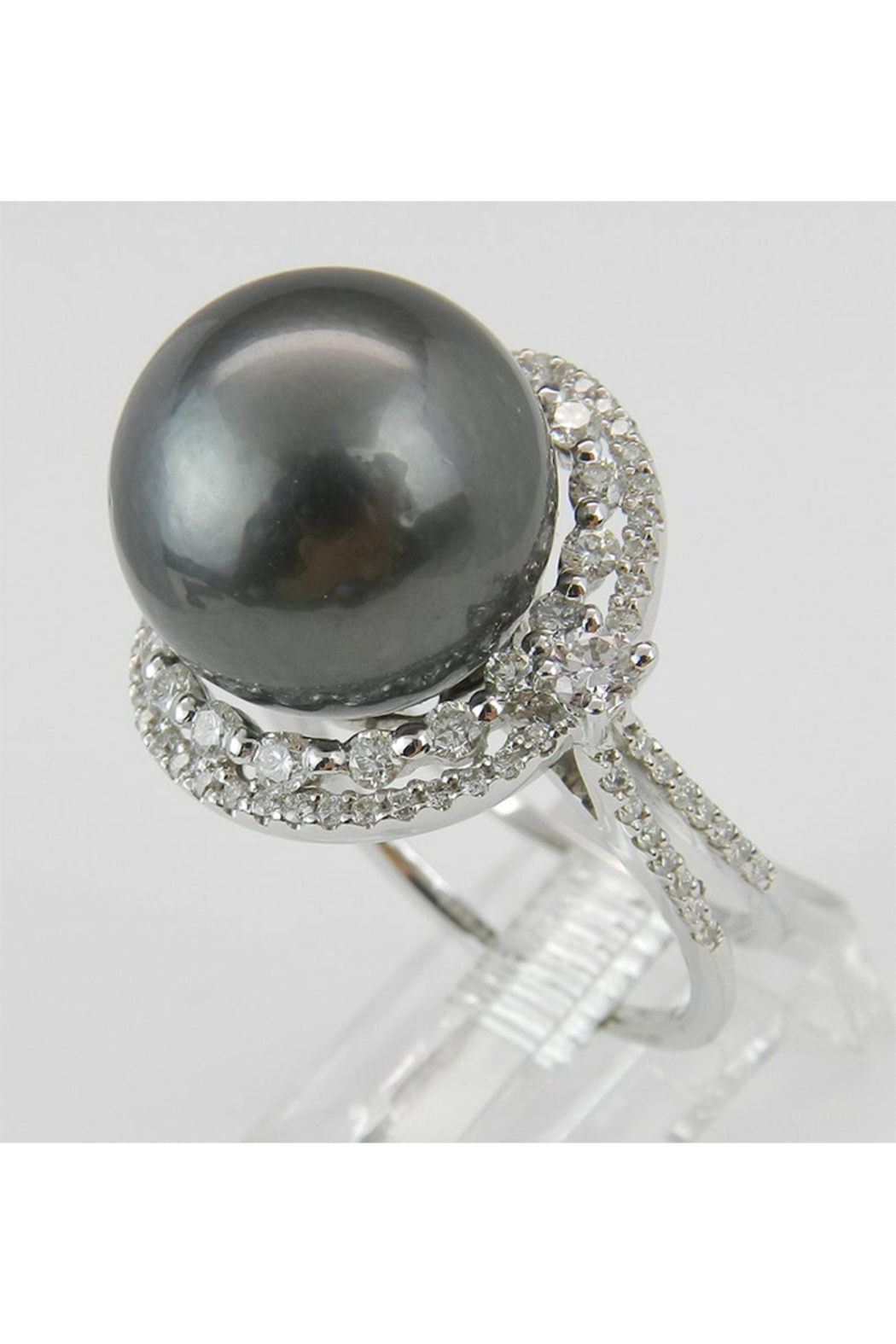 Margolin & Co Black Pearl Ring, Diamond and Pearl Engagement Ring, Tahitian Pearl Ring, 18K White Gold Diamond and Pearl Ring, Diamond Halo Ring - Side Cropped Image