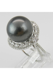 Margolin & Co Black Pearl Ring, Diamond and Pearl Engagement Ring, Tahitian Pearl Ring, 18K White Gold Diamond and Pearl Ring, Diamond Halo Ring - Side cropped