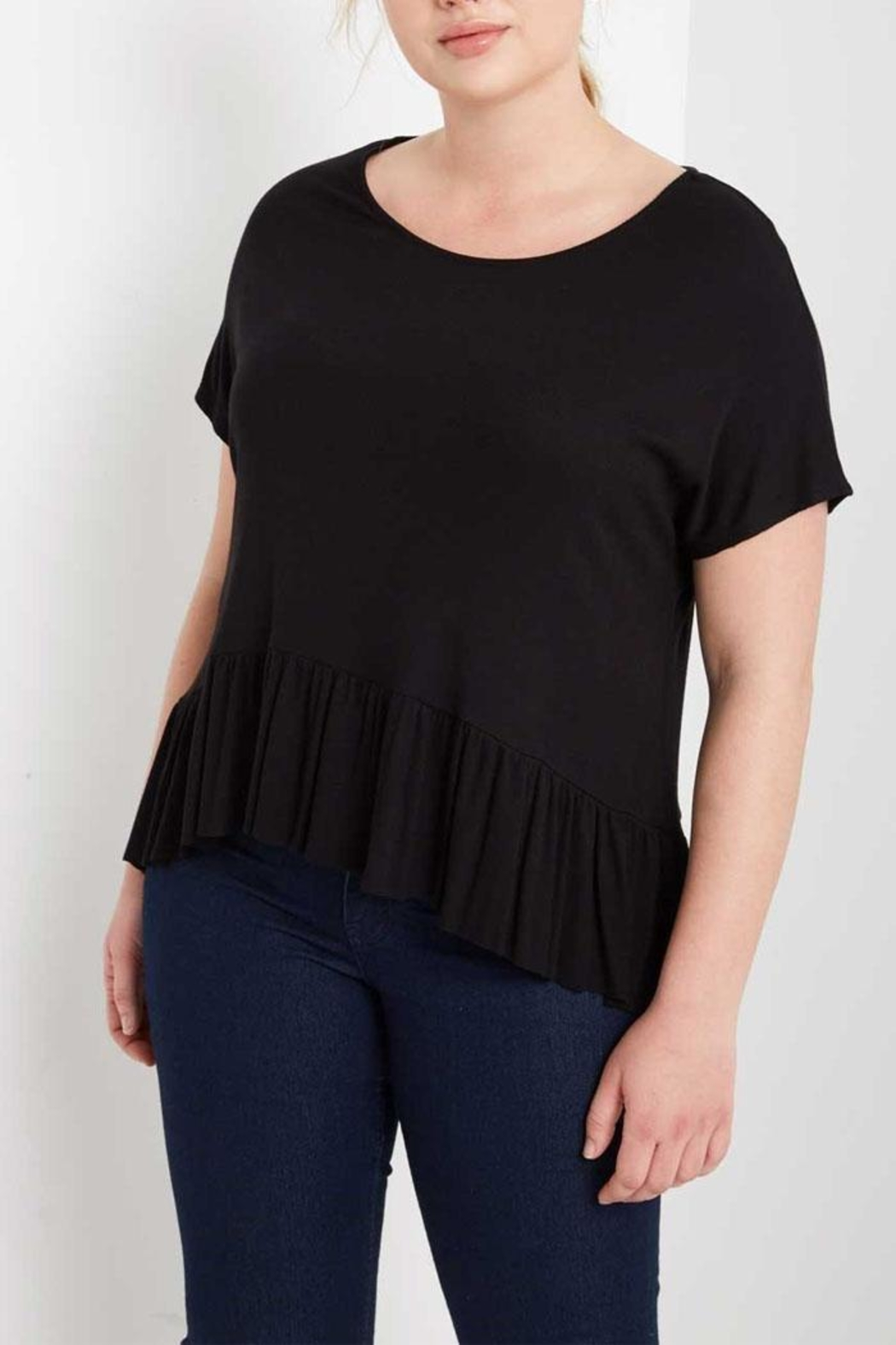 MaiTai Black Peplum Tee - Side Cropped Image