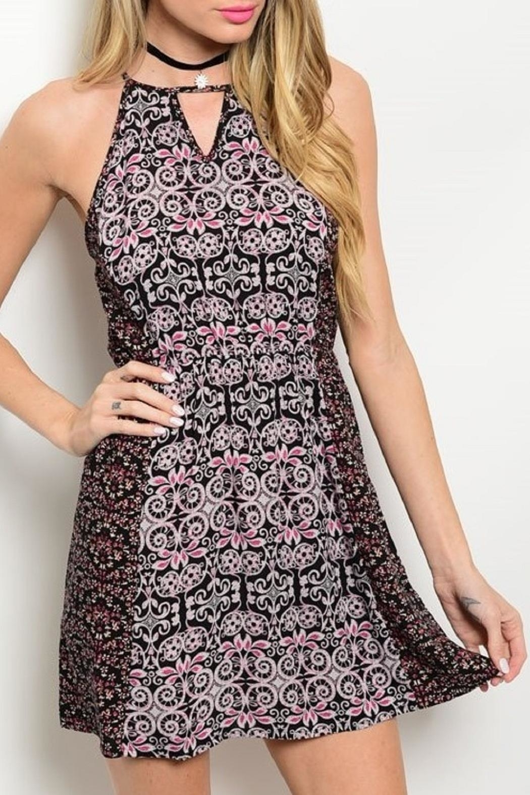 Adore Clothes & More Black/pink Mini Dress - Front Cropped Image