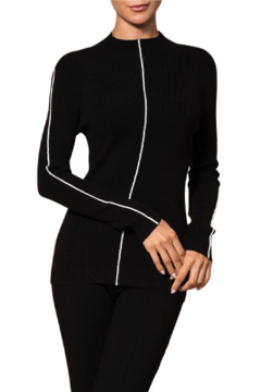 Elena Wang  Black Piped Sweater - Alternate List Image