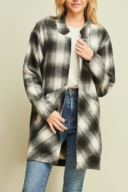 Entro Black Plaid Coat - Product Mini Image