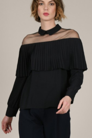 Molly Bracken Black Pleated Cap Blouse - Product Mini Image