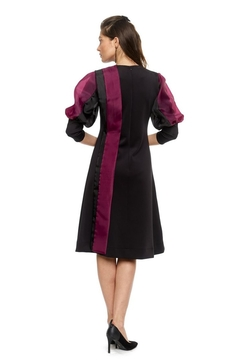 Modaliani Black & Plum Puffed Sleeve Dress - Alternate List Image