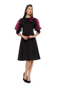Modaliani Black & Plum Puffed Sleeve Dress - Product List Image