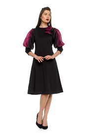 Modaliani Black & Plum Puffed Sleeve Dress - Product Mini Image