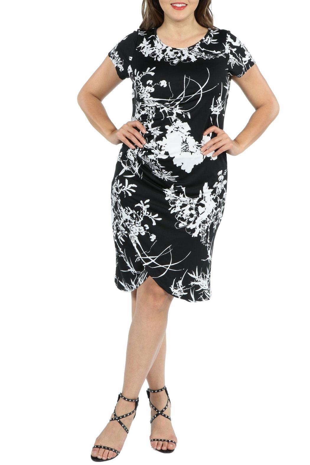 24/7 Comfort Apparel Black Plus Dress - Front Cropped Image