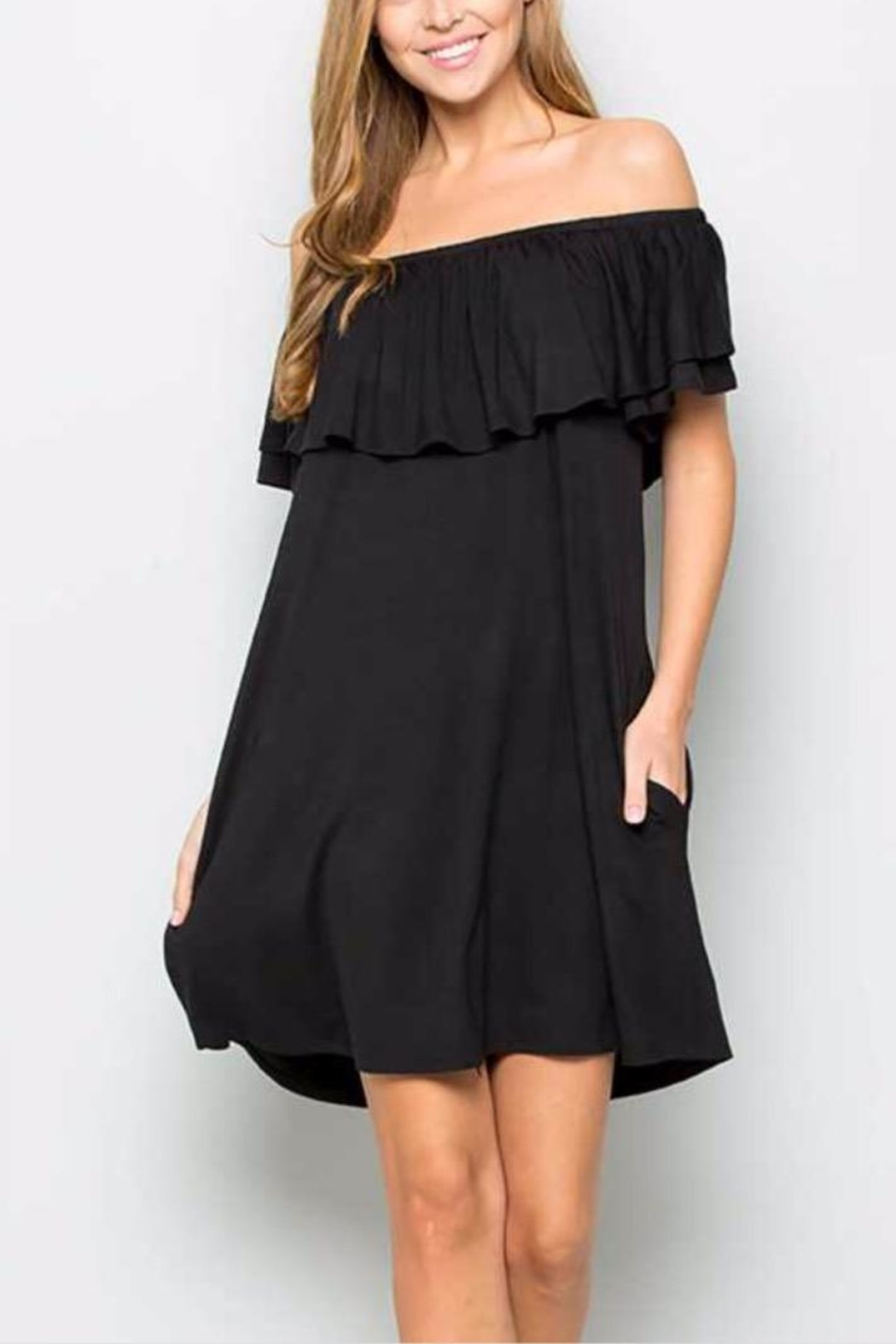 Sweet Lovely Black Pocket Dress - Main Image