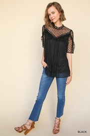 Umgee USA Black Polka-Dot-Lace Top - Back cropped
