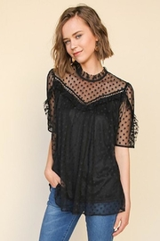 Umgee USA Black Polka-Dot-Lace Top - Front cropped