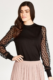 Apricot BLACK POLKA DOT MESH SLEEVE KNIT SWEATER - Product Mini Image