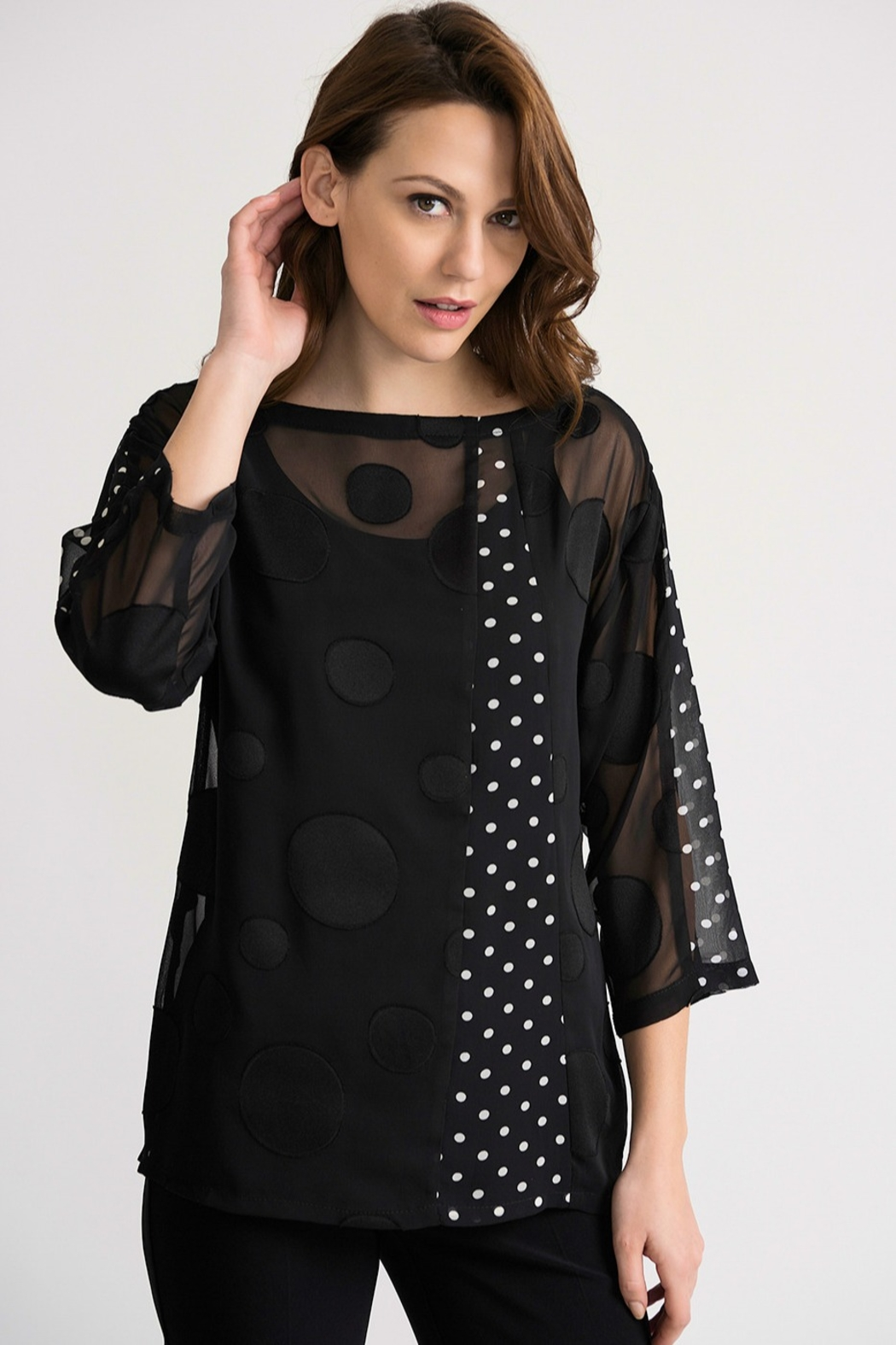 Joseph Ribikoff Black polka dot on black tunic top - Main Image