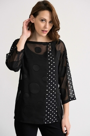 Joseph Ribikoff Black polka dot on black tunic top - Front cropped