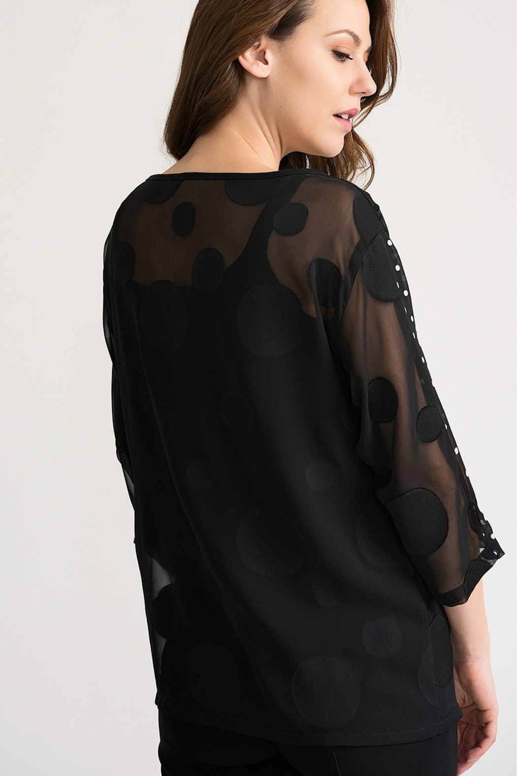 Joseph Ribikoff Black polka dot on black tunic top - Front Full Image