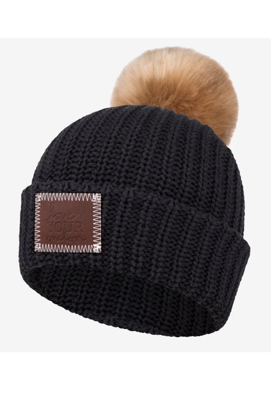 Love Your Melon Black Pom Beanie - Front Cropped Image