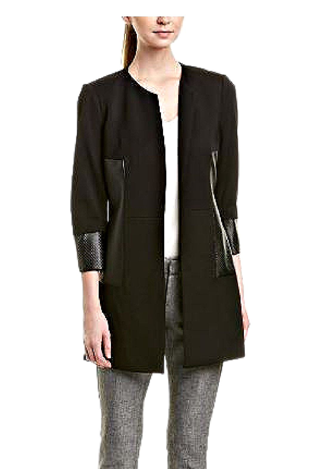 INSIGHT NYC Black Ponte Knit Car Coat - Front Cropped Image