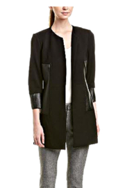 INSIGHT NYC Black Ponte Knit Car Coat - Front cropped