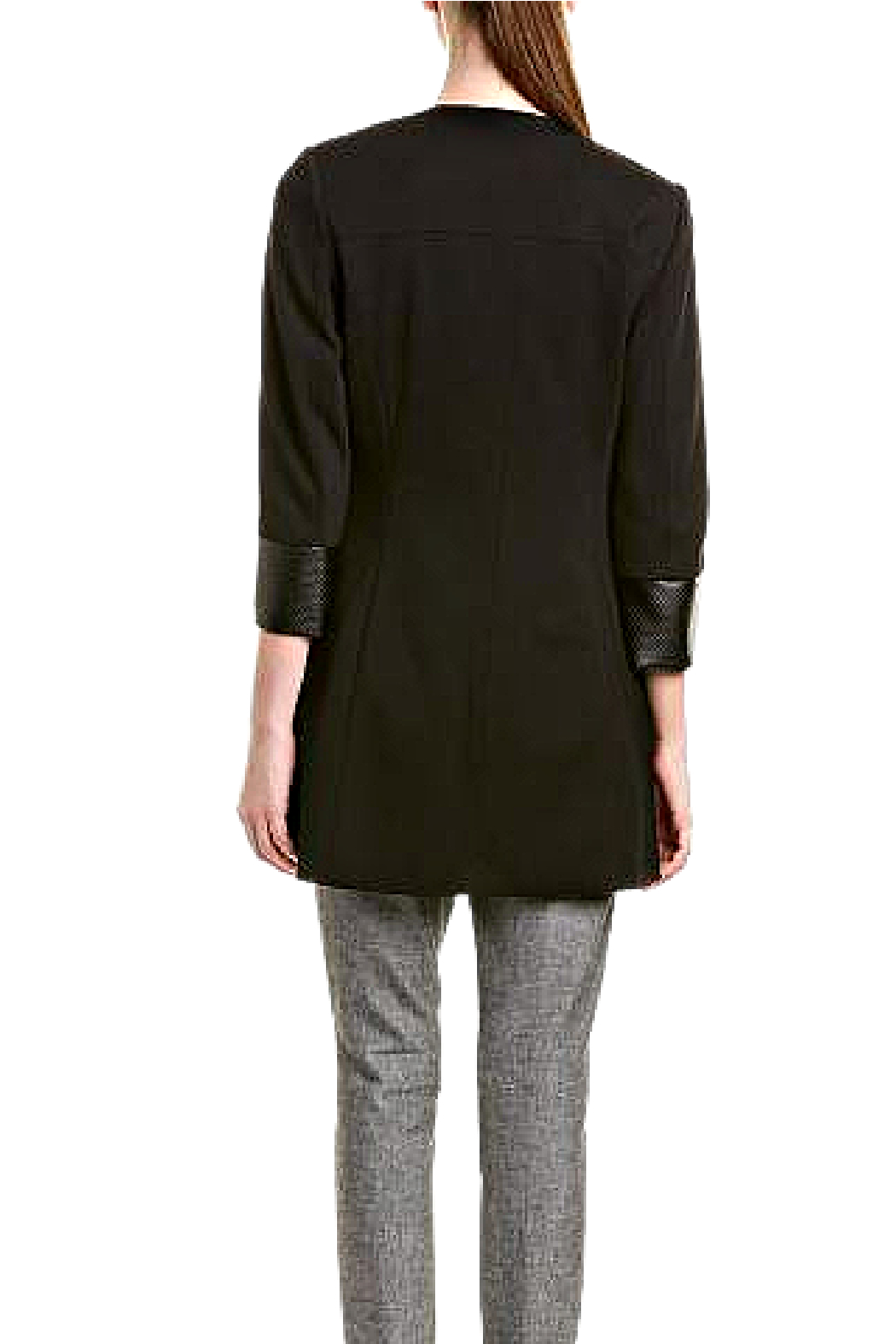 INSIGHT NYC Black Ponte Knit Car Coat - Front Full Image