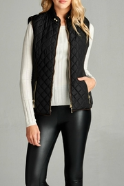 Active Basic Black Quilted Vest - Front full body