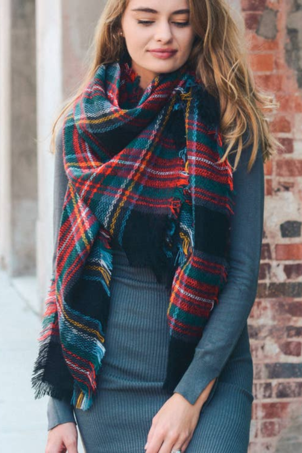 Leto Accessories Black, Red & Green Classic Plaid Blanket Scarf - Main Image