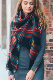 Leto Accessories Black, Red & Green Classic Plaid Blanket Scarf - Product Mini Image