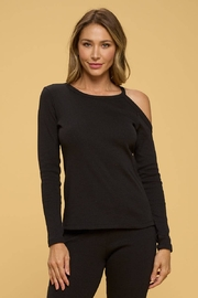 Renee C Black Rib Knit Top With Open Shoulder - Product Mini Image