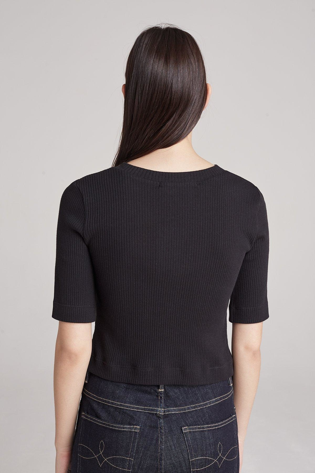 3x1 Black Ribbed Top - Front Full Image