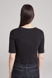 3x1 Black Ribbed Top - Front full body