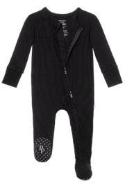 Posh Peanut Black Ribbed Zipper Footie - Front cropped