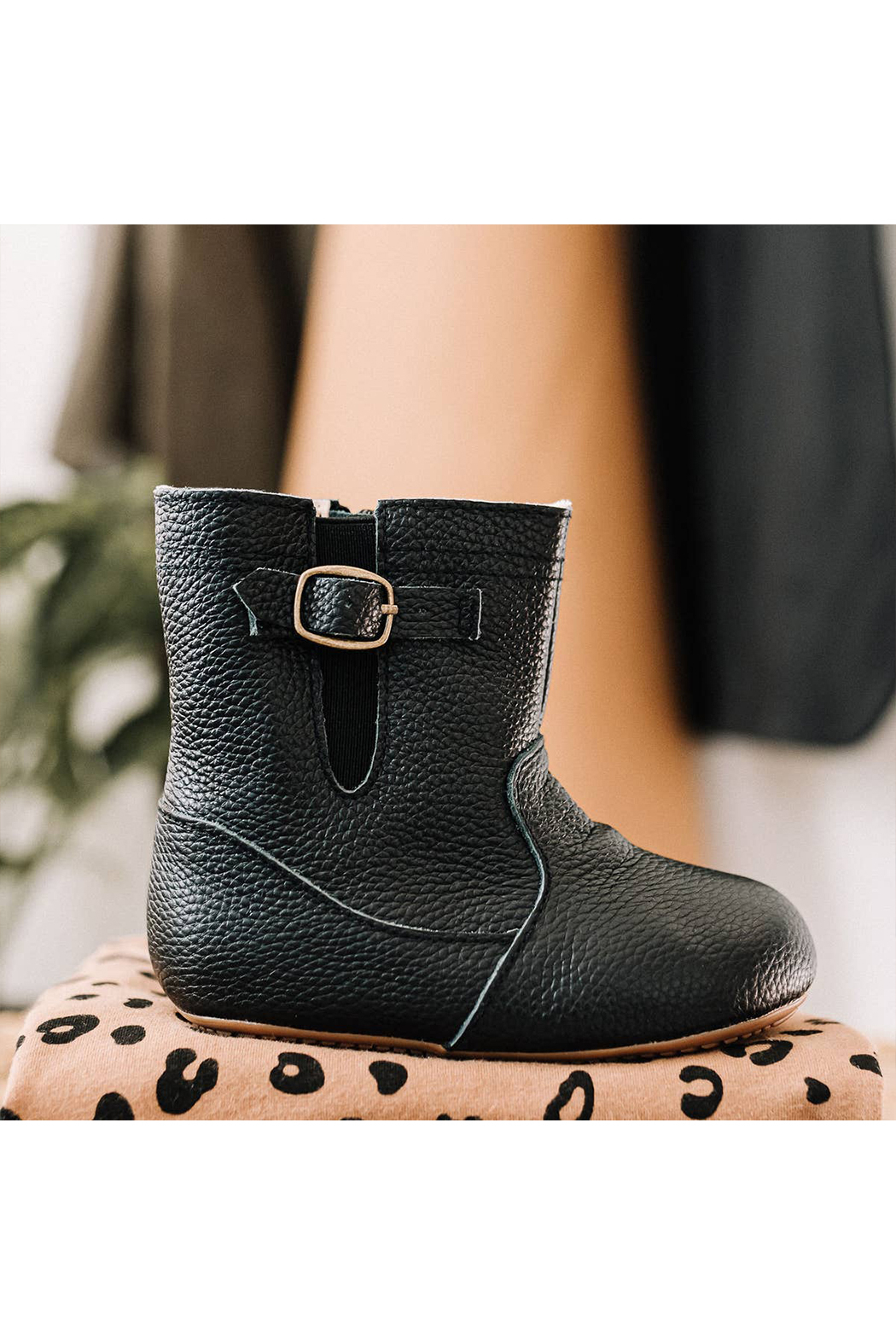 Little Love Bug Black Riding Moccasin Boot with Waterproof Soft Sole - Front Full Image