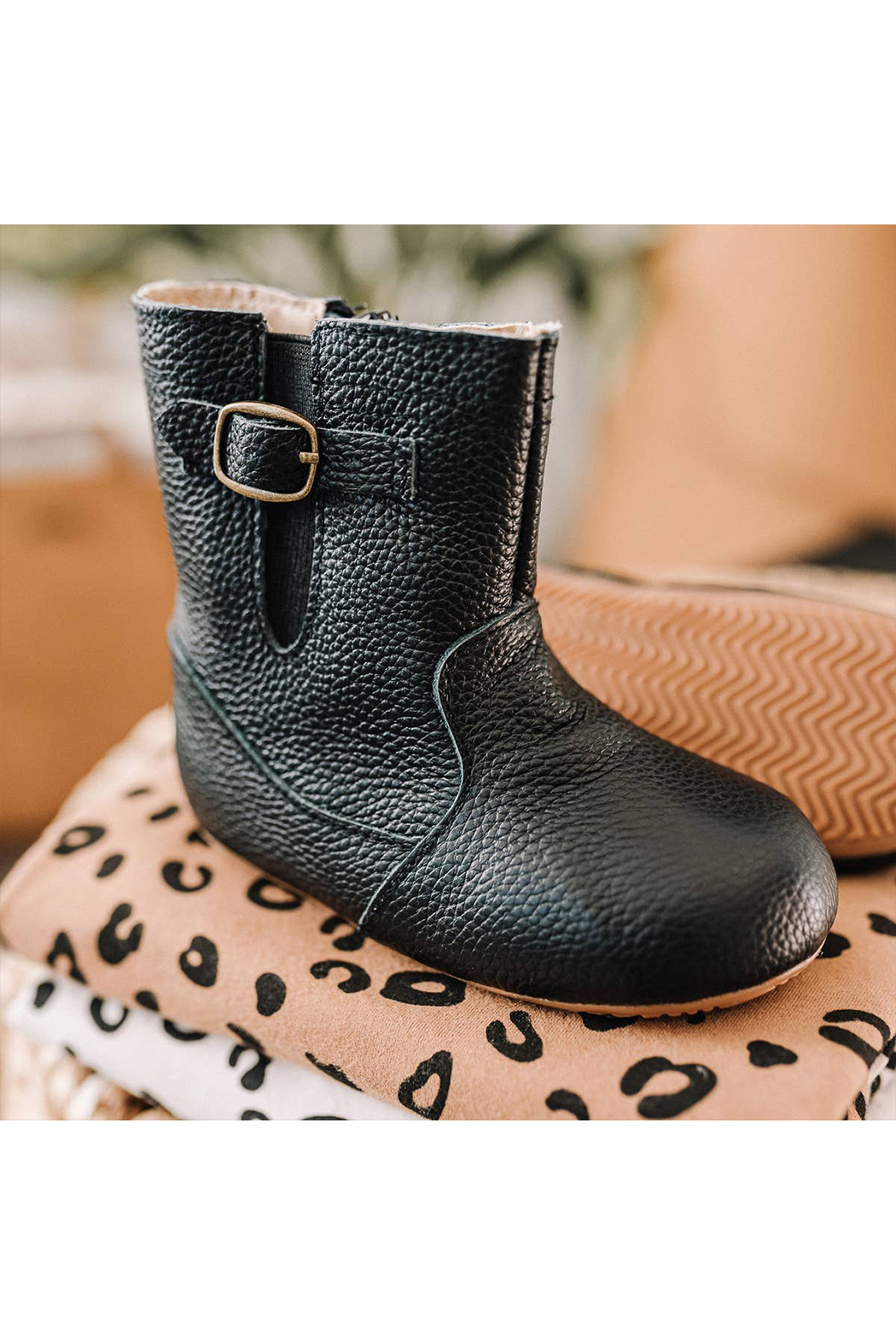 Little Love Bug Black Riding Moccasin Boot with Waterproof Soft Sole - Main Image