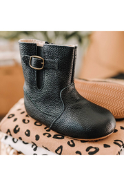 Little Love Bug Black Riding Moccasin Boot with Waterproof Soft Sole - Product Mini Image