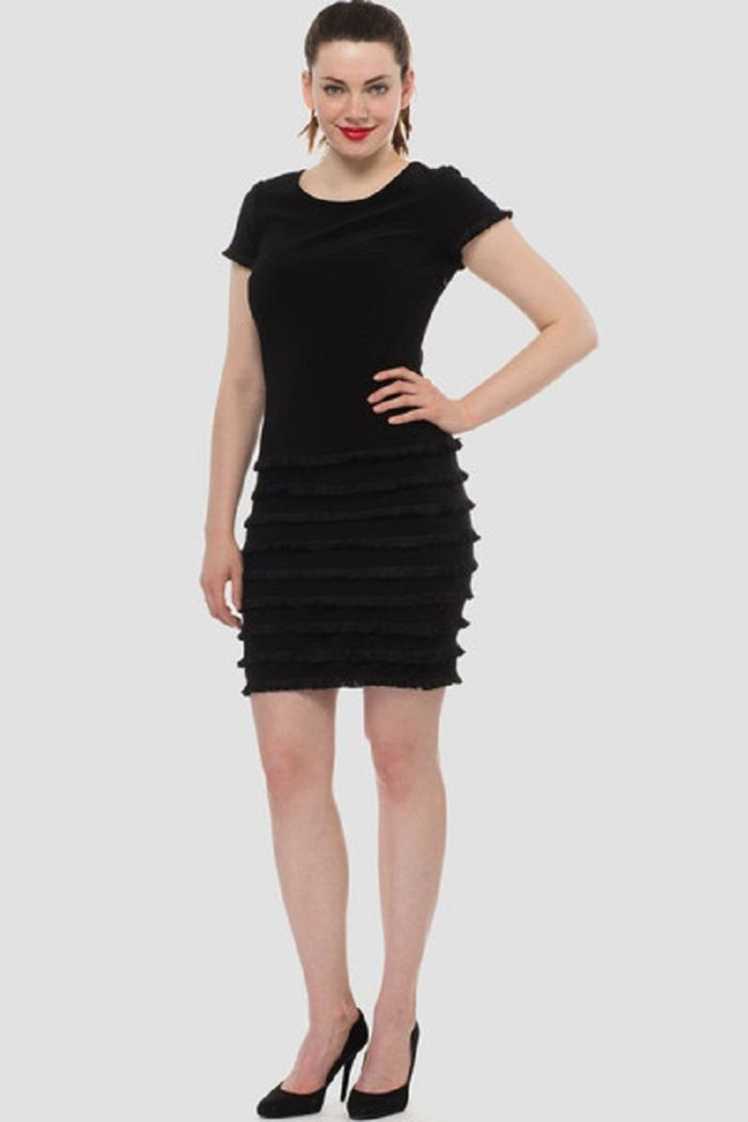 Joseph Ribkoff Black Ruffle Dress - Front Full Image