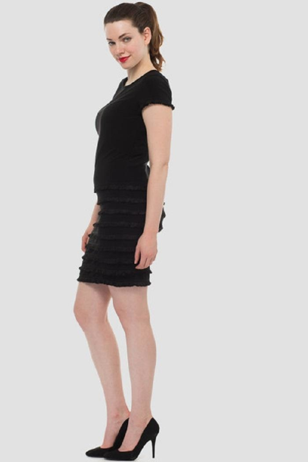 Joseph Ribkoff Black Ruffle Dress - Side Cropped Image