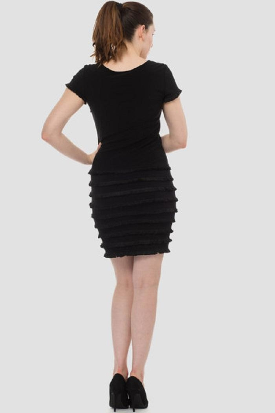 Joseph Ribkoff Black Ruffle Dress - Back Cropped Image