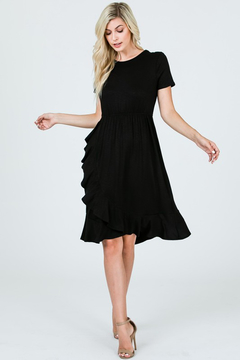 Ces Femme Black Ruffle Skirt Short Sleeve Knee Length Dress - Alternate List Image