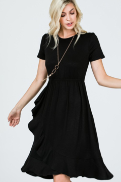Ces Femme Black Ruffle Skirt Short Sleeve Knee Length Dress - Product List Image